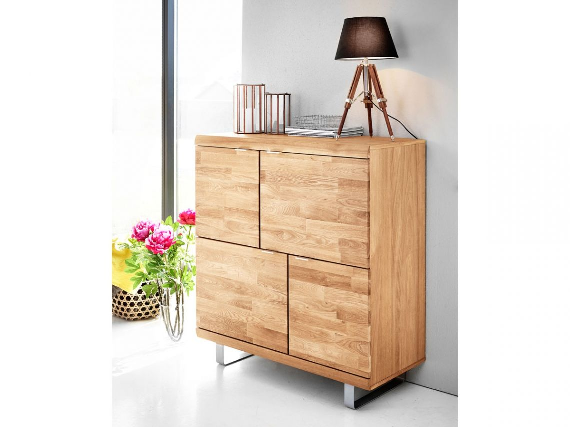 Cago Ii Highboard Eiche Fusse Silber Matt Highboard Eiche Dekor