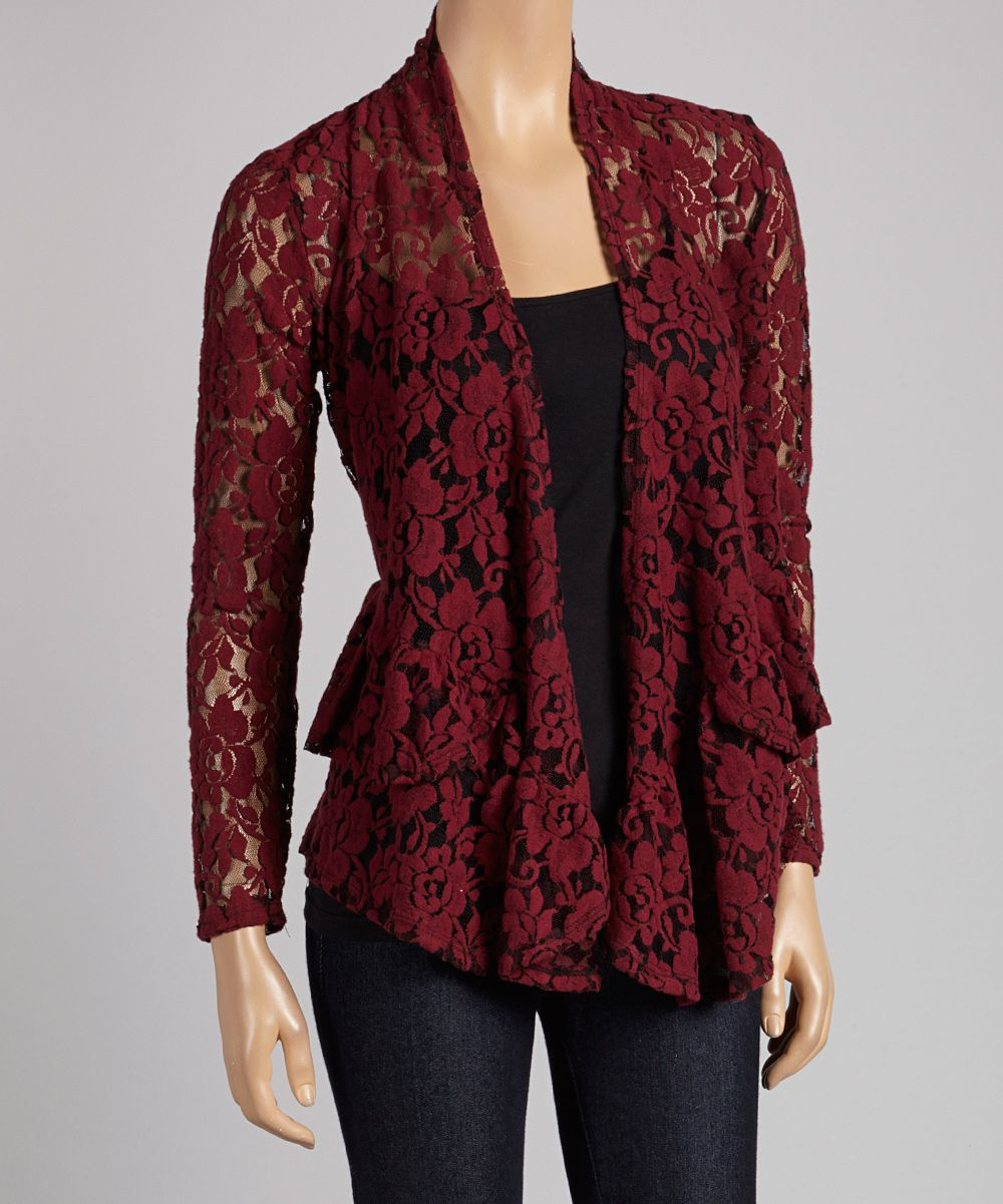 Burgundy Floral Lace Open Cardigan | Style: Women's Dark | Mix ...