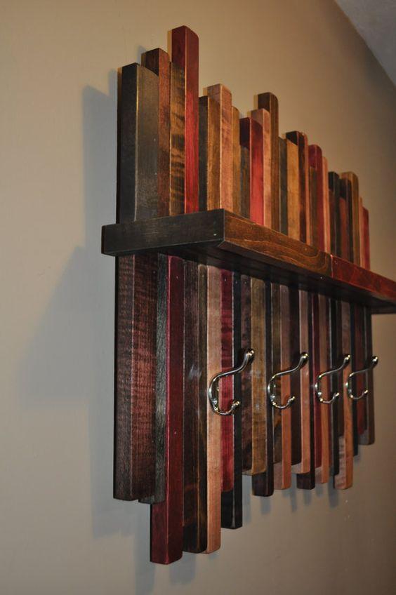 Reclaimed Wood Coat Rack Rustic Wood Coat By Lynnsrusticcreations Diy Coat Rack Coat Rack Wall Rustic Coat Rack