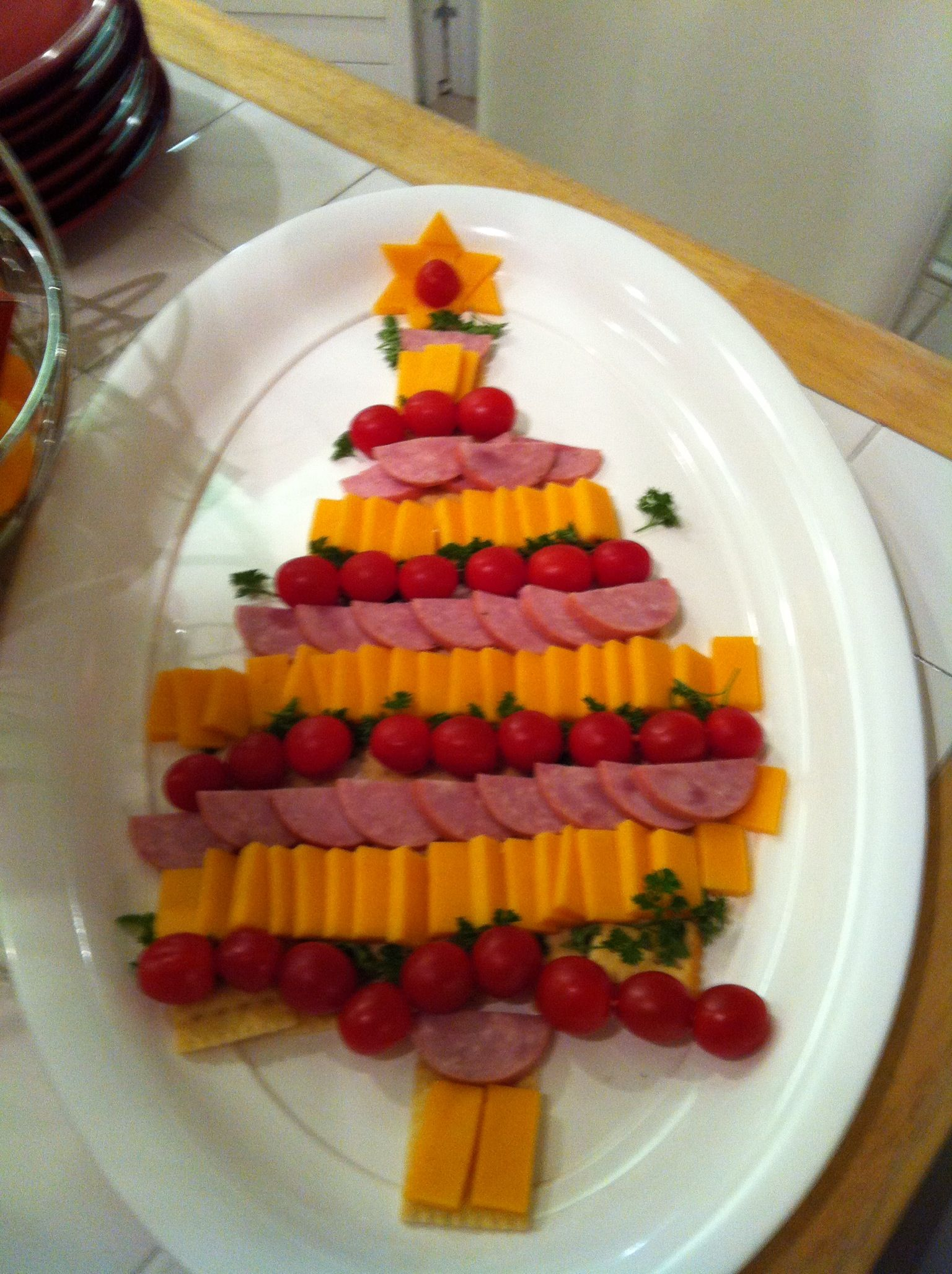 Christmas Tree Meat And Cheese Appetizer Tray Appetisers