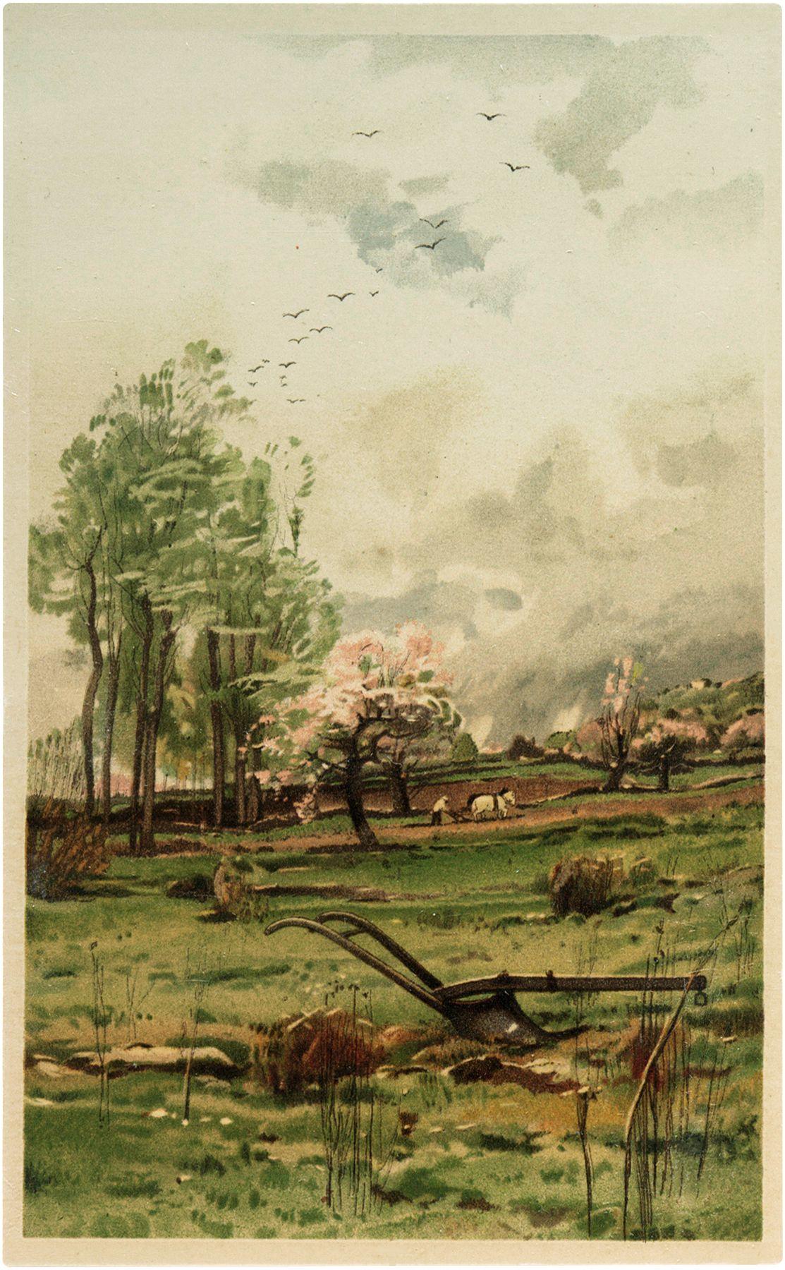 Charming Vintage Farming Landscape Image Vintage Landscape Farm Prints Farm Art