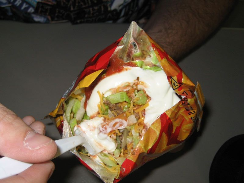 Taco in a bag use Doritos, slit lengthwise add toppings, eat with fork