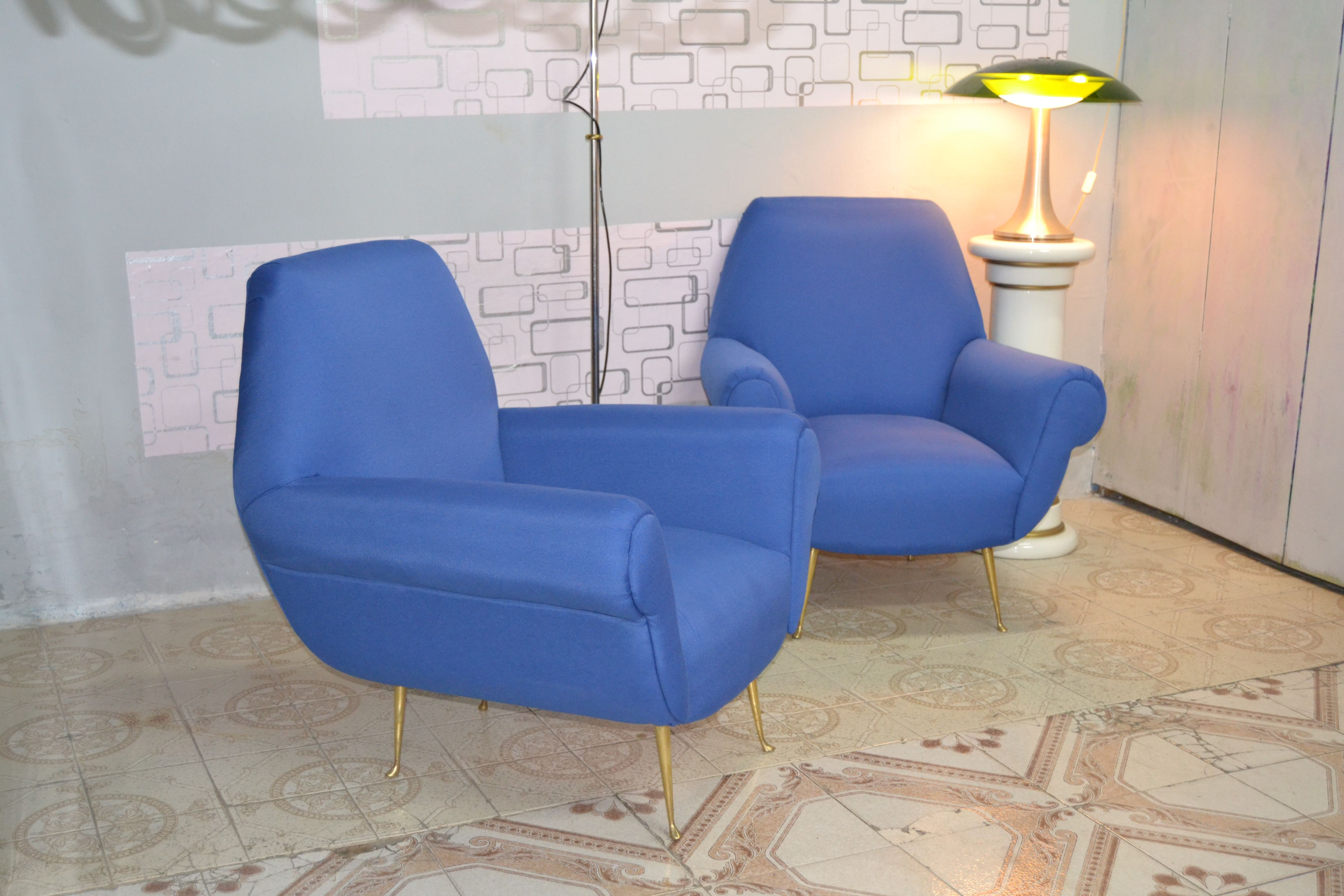 Coppia poltrone in velluto Pair of Armchairs by Gigi Radice for Minotti 1959 Mobili design 900