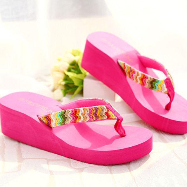 8370a1d7f07e7 Mulheres marca de Verão Sapatos de Salto Alto Chinelos cunhas Plataforma  para as mulheres Sandálias de Praia Boemia Aleta feminino chinelos sapatos  de ...