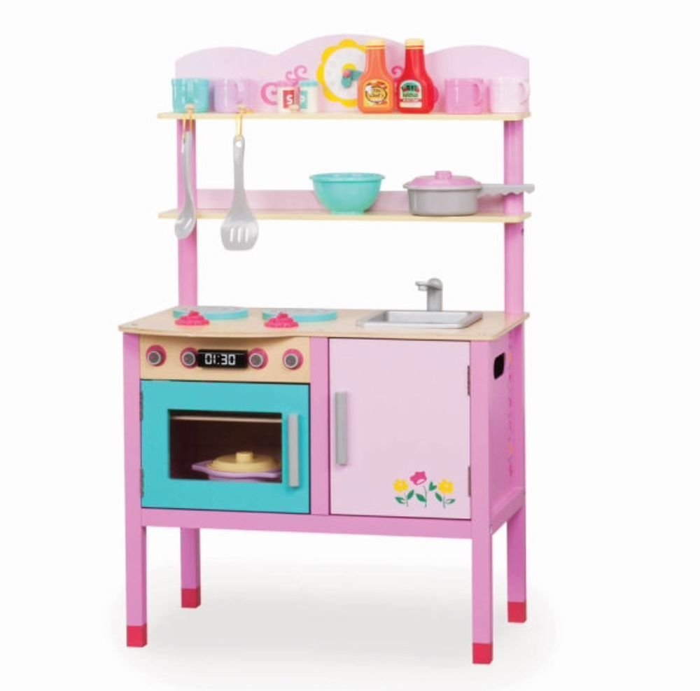 New Playcircle Little Chefs Pink Girls Childrens Wood Play Kitchen ...
