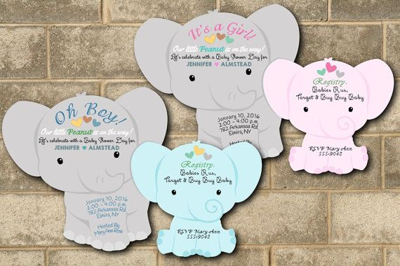 Elephant Baby Shower Invitations Jungle Shower Invitation Invites