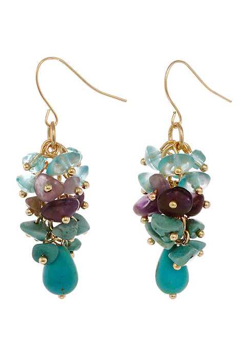 Erica Lyons Gold Tone Cluster Pierced Earrings with Semi Precious Chips