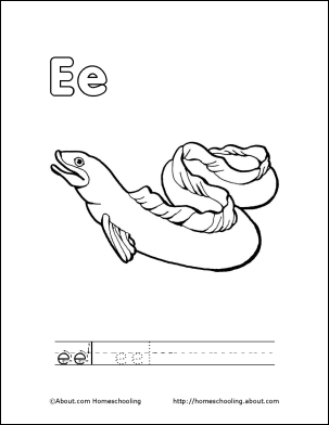 Letter E Coloring Book - Free Printable Pages | Books and School week