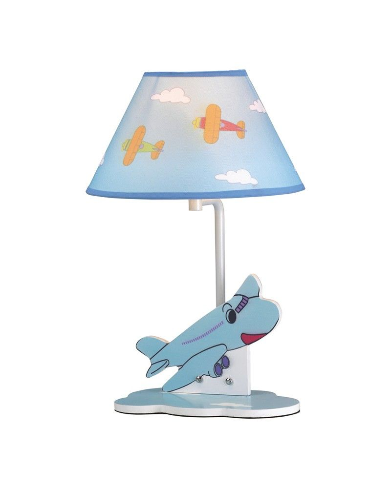 Airplane theme children table lamp with fabric shade lamps airplane theme children table lamp with fabric shade geotapseo Images