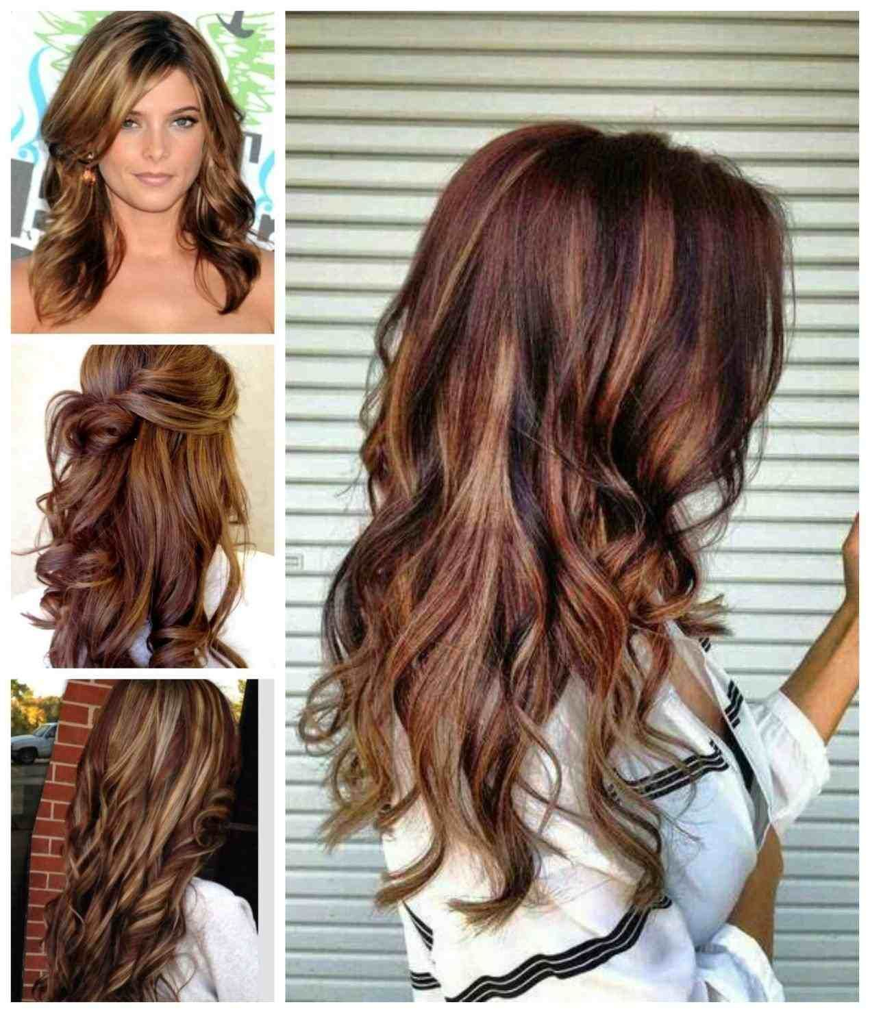 Brown Hair With Blonde Peekaboo Highlights Underneath Red