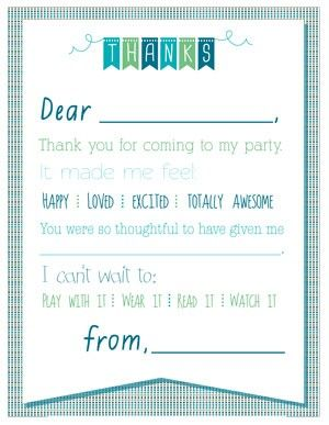 Printable Birthday Thank You Notes Kids Thank You Note Templates