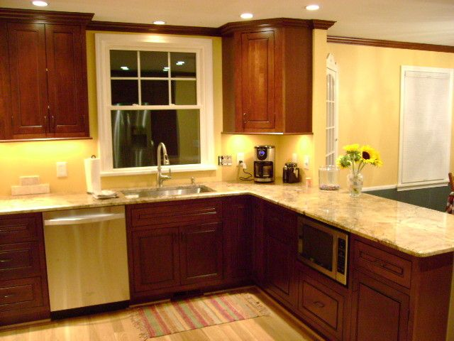 Inset kitchen cabinets cherry cabinetry cliqstudios for for Cute yellow kitchen ideas