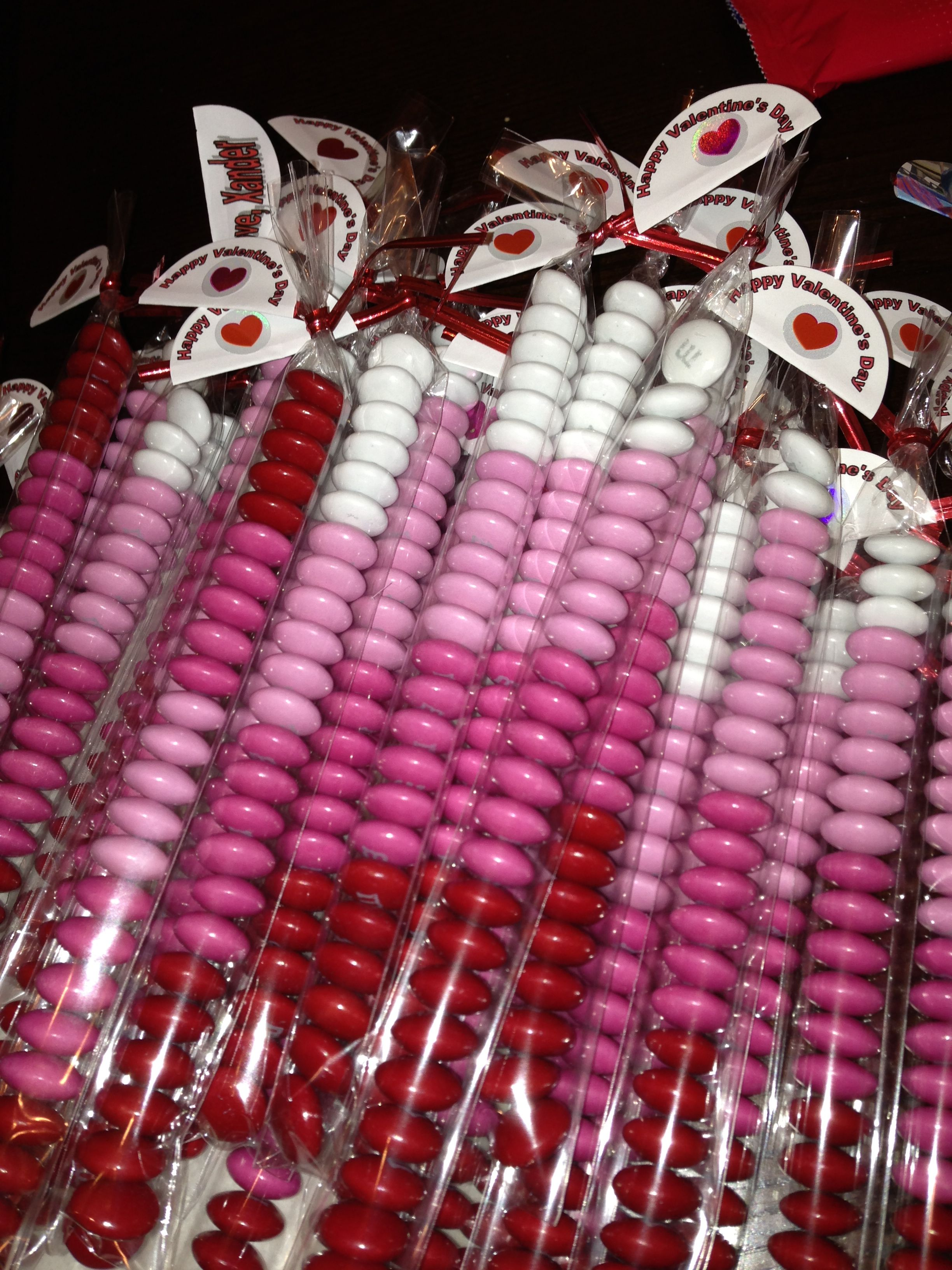 Valentine's Day m's sorted by color and stacked in a Heiko clear bag.