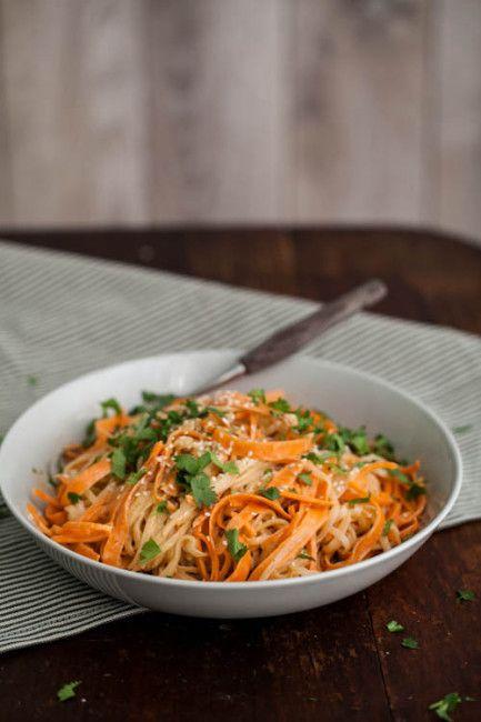 Carrot Rice Noodle Bowl with Tahini-Sriracha Sauce