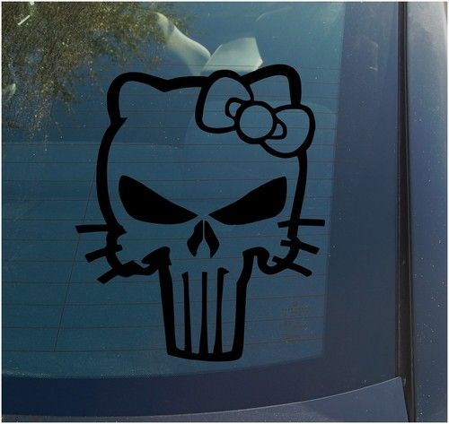 Hello Kitty Punisher Vinyl Decal Sticker Skull Bow Funny Car - Hello kitty custom vinyl decals for car
