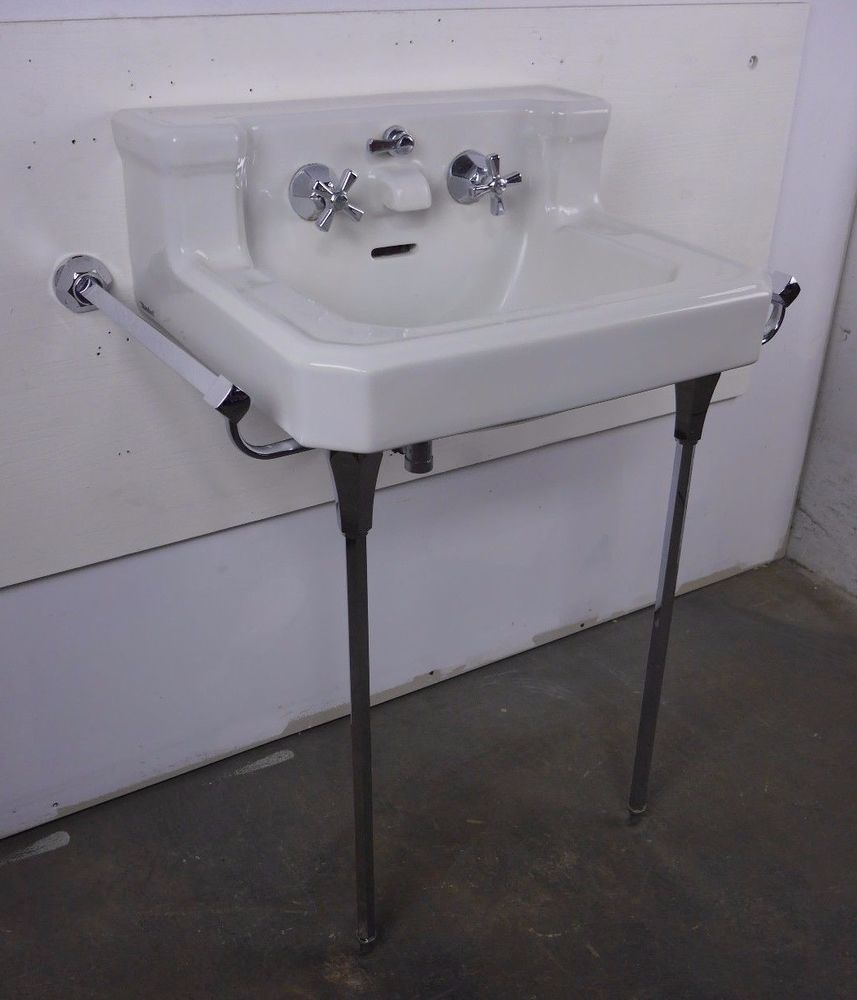 Antique Vintage American Standard White Console Sink Companion Lavatory 1940 S Americanstandard Console Sink Sink Bathroom Sink