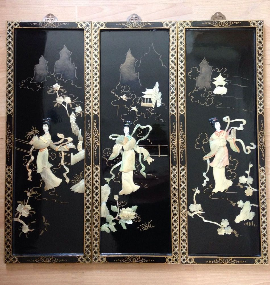 Vintage Oriental Japanese Lacquered Mother Of Pearl Wall Hanging