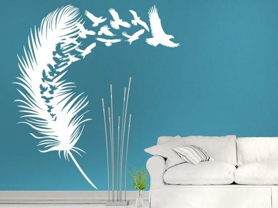 Wandtattoo Vogelfeder Mit Vogelschar Wandtattoo De Dekorative Wandmalereien Wandtattoo Wandtattoo Vogel