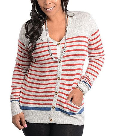 Another great find on #zulily! Gray & Red Ribbed Stripe Cardigan - Plus #zulilyfinds