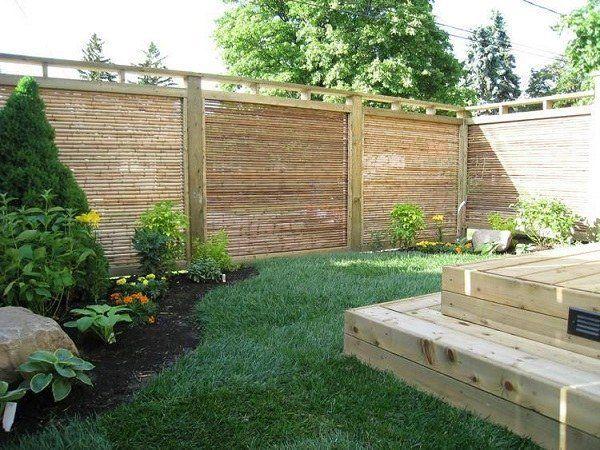 Small Patio Design Ideas Bamboo Fencing Panels Wood Deck Lawn Backyard Fences Fence Design Backyard