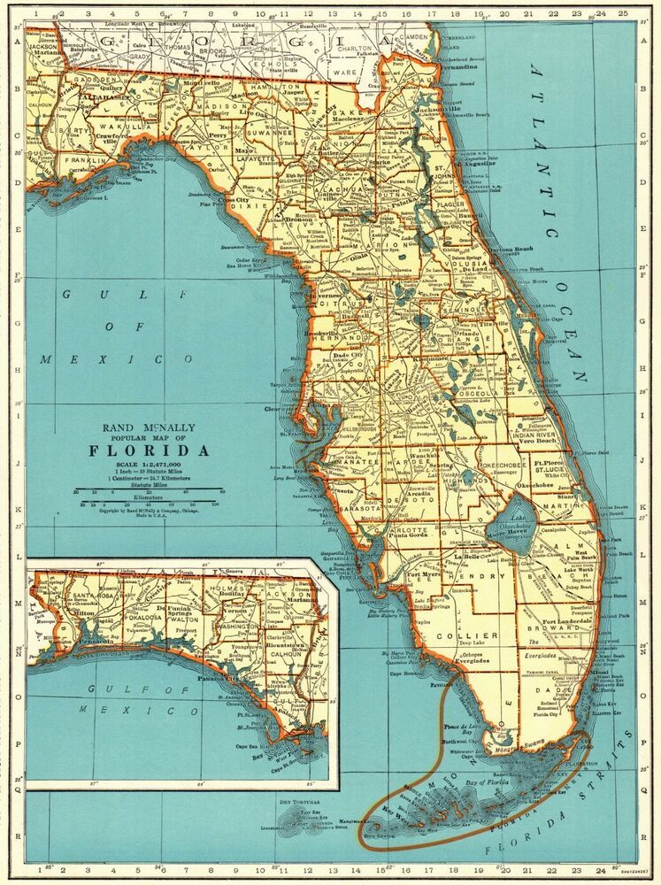 1943 Antique FLORIDA Map Vintage State Map of Florida ...