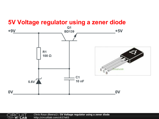 circuitlab 5v voltage regulator using a zener diodecircuitlab 5v voltage regulator using a zener diode