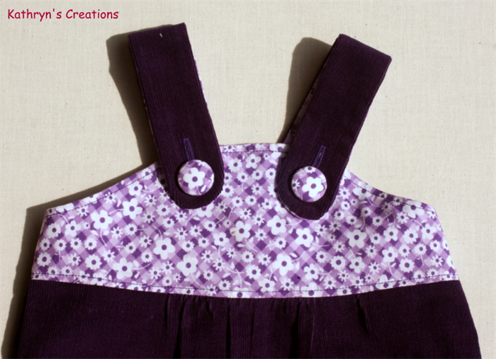 Girl's Purple Corduroy Overalls with Floral Applique - Size 1 | Kathryn's Creations | madeit.com.au
