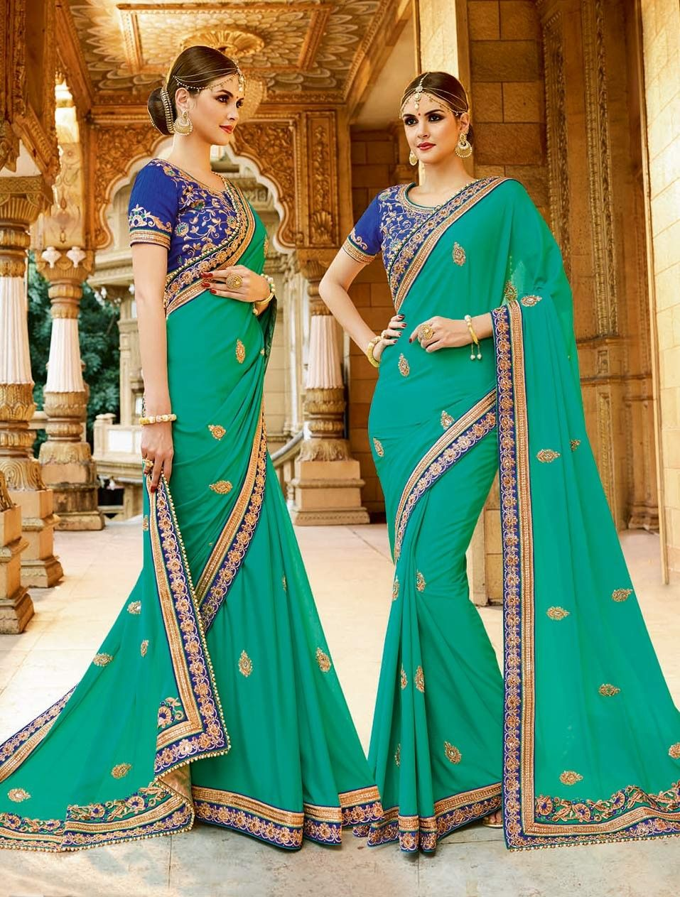 9bc127bd9d024b Latest green Georgette Traditional Wedding Saree With contrast blue embroidered  blouse