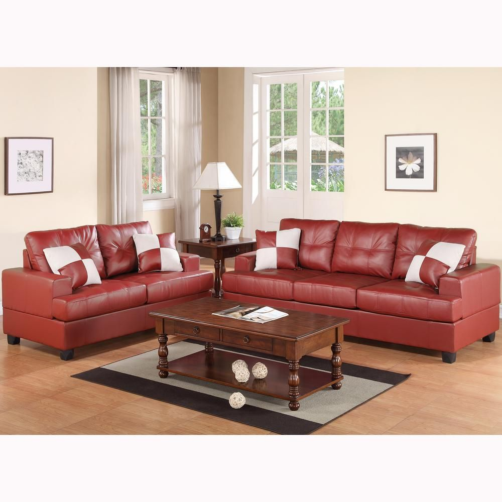 Groovy Lazio 2 Piece Burgundy Red Sofa Set Bonded Leather Ibusinesslaw Wood Chair Design Ideas Ibusinesslaworg