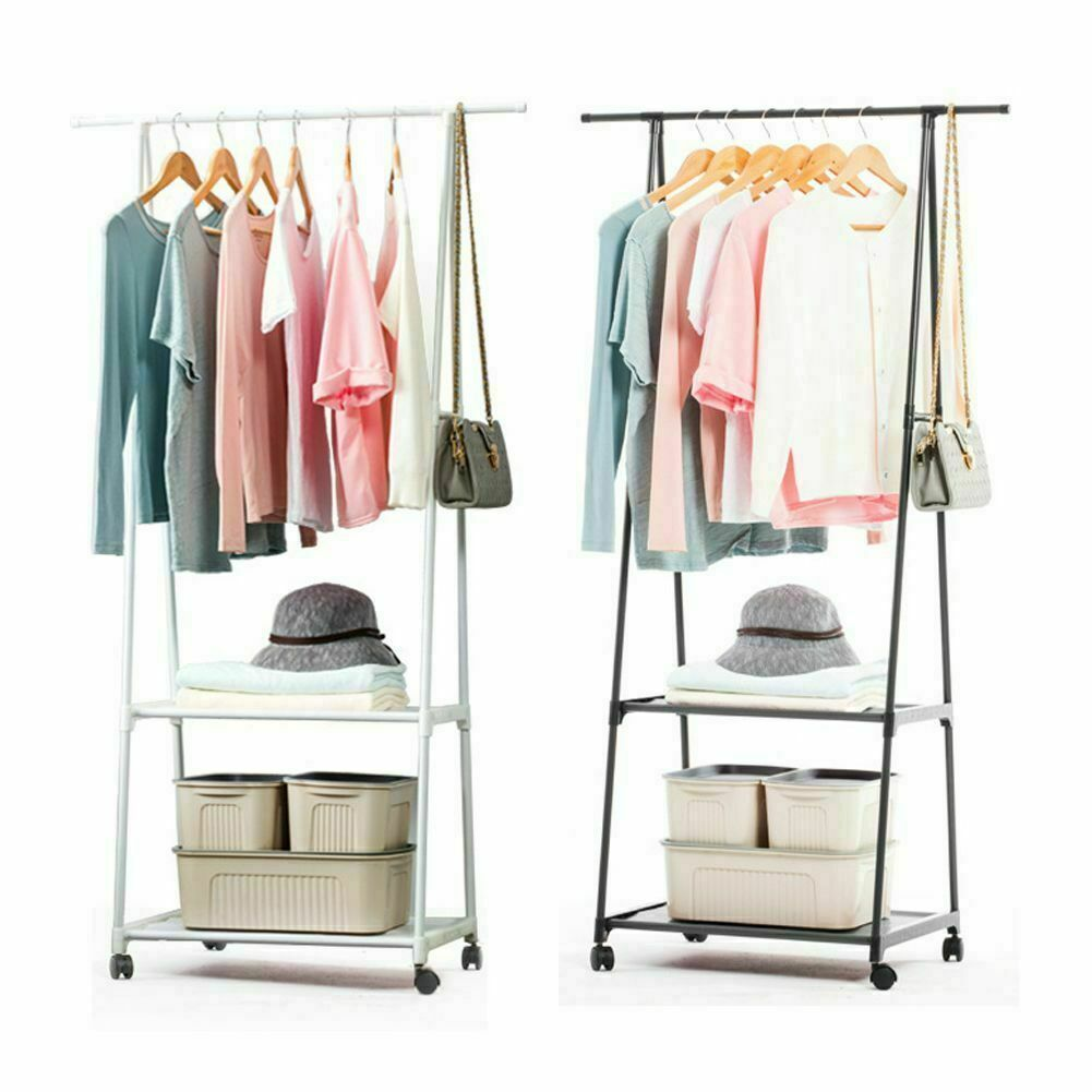 Rolling Clothes Stand Holder Storage Rack Shoes Shelf Garment Hanger Organizer In 2020 Clothes Storage Organizer Clothes Stand Storage Shelves
