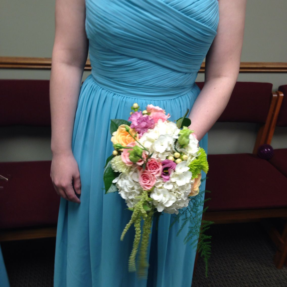 Tattered Leaf Designs flowers & gifts bridesmaid bouquet for Aqua dresses#peachbiuquets