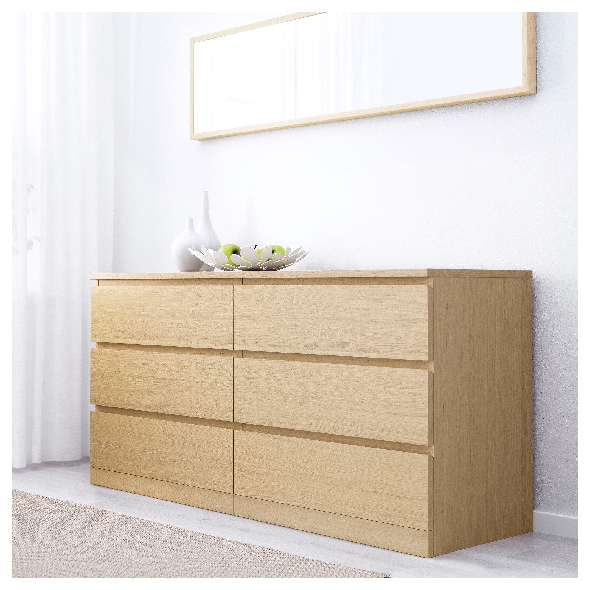 Malm 6 Drawer Dresser White Stained Oak Veneer