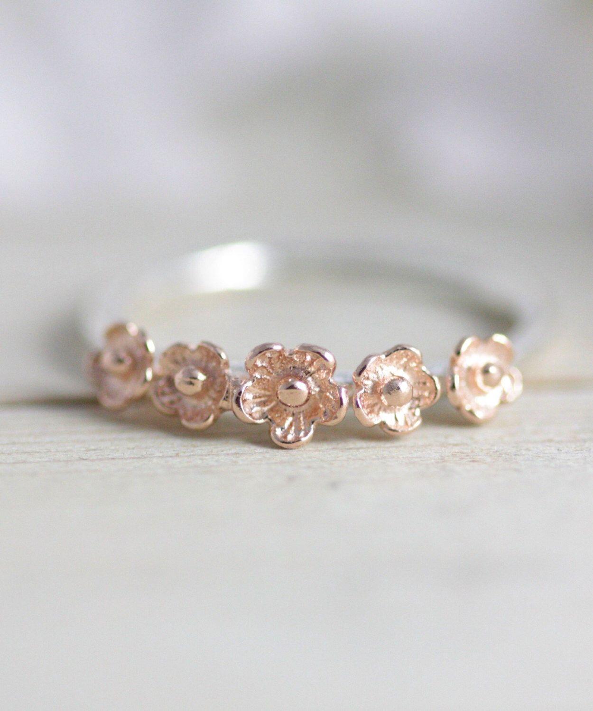 Cherry Blossom Ring Rose Gold Flower Ring Rose Gold