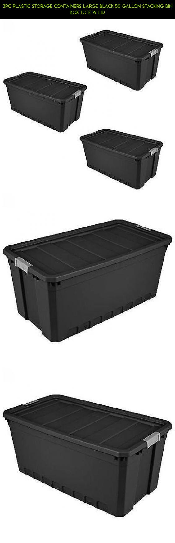 3pc Plastic Storage Containers Large Black 50 Gallon Stacking Bin Box Tote W Lid #shopping  sc 1 st  Pinterest & 3pc Plastic Storage Containers Large Black 50 Gallon Stacking Bin ...