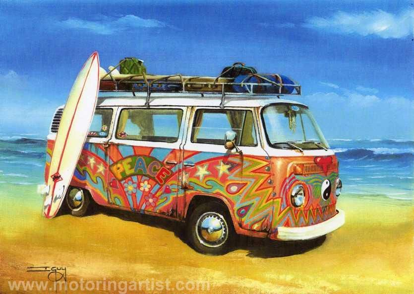 vw hippie peace camper can painting by ian guy. Black Bedroom Furniture Sets. Home Design Ideas