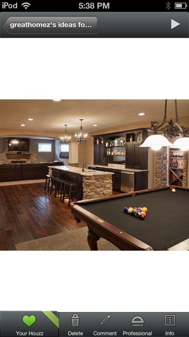 Rec Room Bar Designs: Basement Pool And Bars Stone