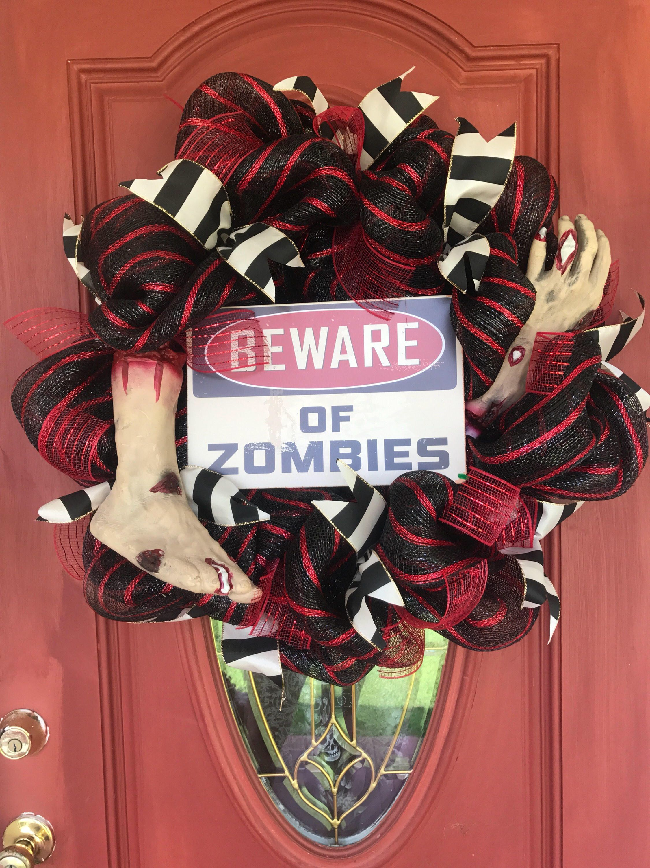 A Personal Favorite From My Etsy Shop Https Www Etsy Com Listing 560021473 Beeare Of Zombies Wreath Zombie Wreath Dead Wreath Wreaths Scary Halloween Wreath