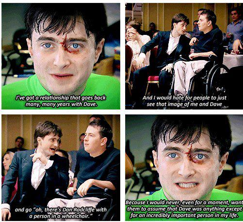 Daniel Radcliffe talking about his stunt double who was paralyzed during filming.