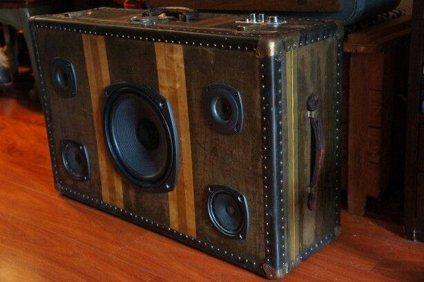 """Here is another awesome sounding suitcase speaker. This is a vintage 1920's Belber traveling trunk with 4 Kenwood speakers and a 10 """" sub. Checkout www.paintedkarma.com for more detailed pics."""