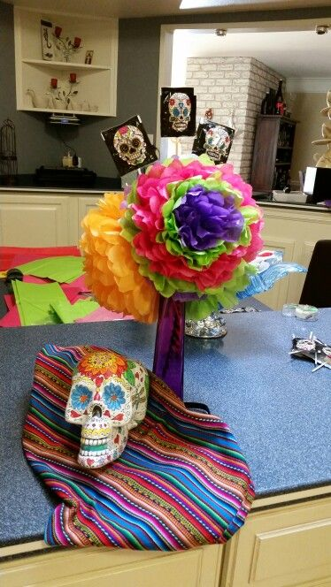 Hand painted skull and tissue paper flowers for dia de los muertos hand painted skull and tissue paper flowers for dia de los muertos mightylinksfo