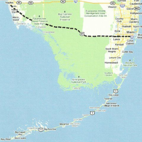 Florida Backroads Travel map of Tamiami Trail US41 from Naples