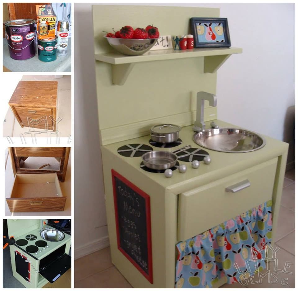 Diy Play Kitchen From An Old Nightstand Home Kids Kitchen Diy