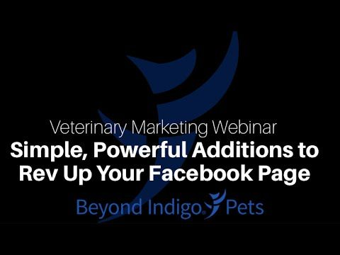 #Veterinary #Marketing Webinar: Join us for a webinar for #Advanced Facebook users where you'll learn how to rev up your Facebook page to work harder for your #business using a free tools!