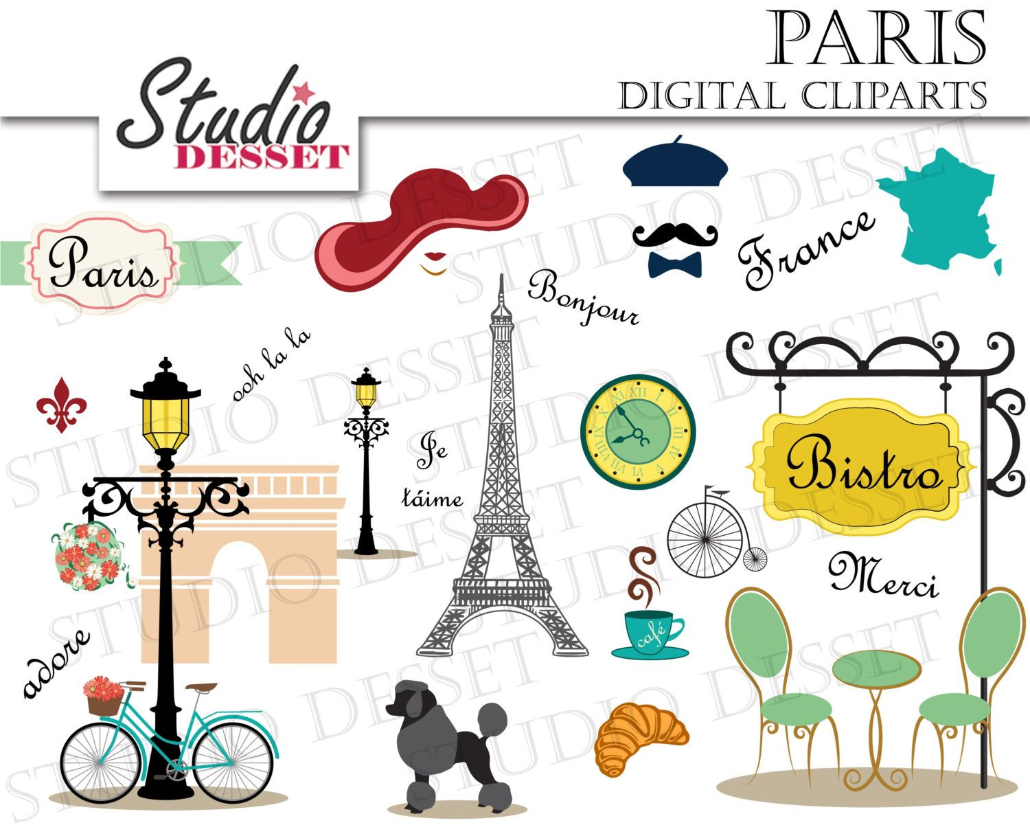 Pink Poodle Eiffel Tower Cartoon Paris Cliparts France Clip Paris Theme Party Eiffel Tower Art Clip Art