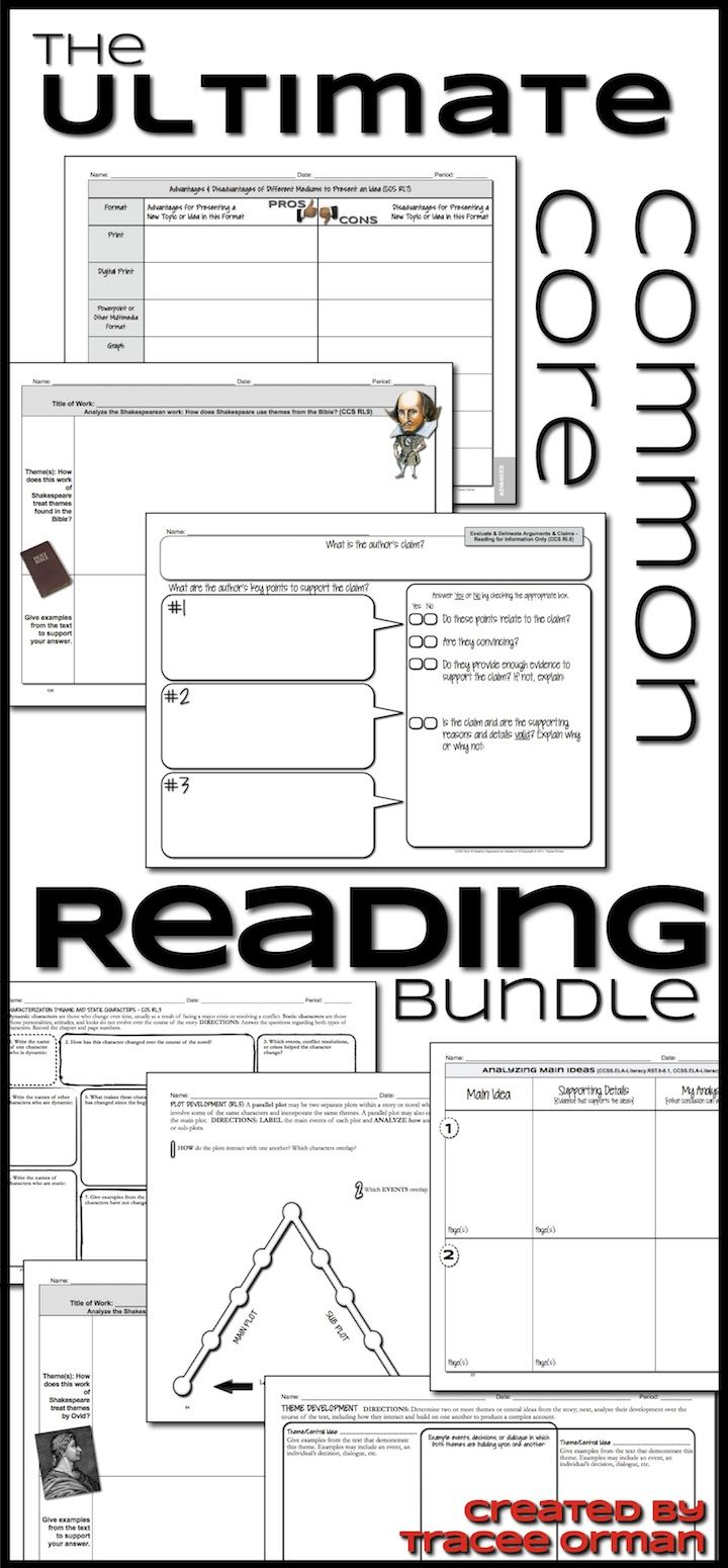 English Reading Lit & NonFiction Graphic Organizers