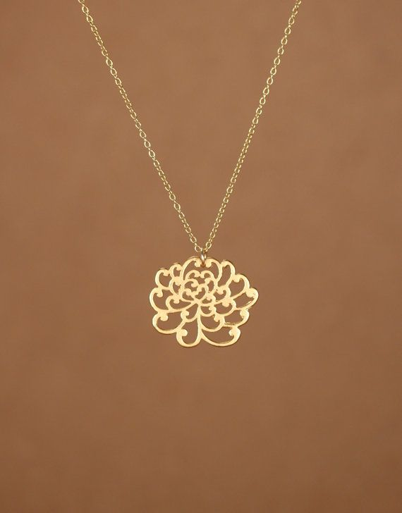 Blooming flower necklace lotus necklace gold flower necklace lotus necklace gold lotus flower necklace yoga necklace peony flower a 22k gold or sterling silver lotus flower necklace mozeypictures Choice Image