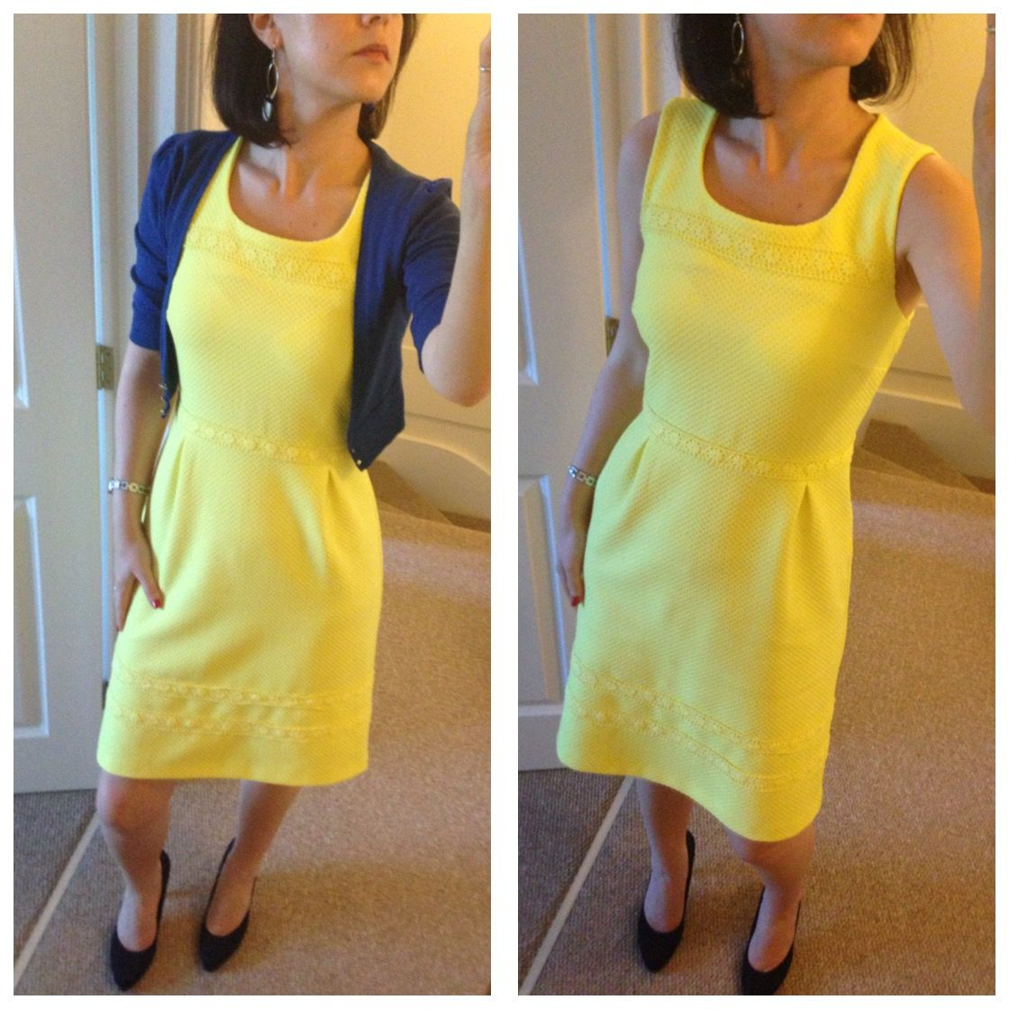 Bright yellow dress, royal blue cropped cardigan, navy heels ...