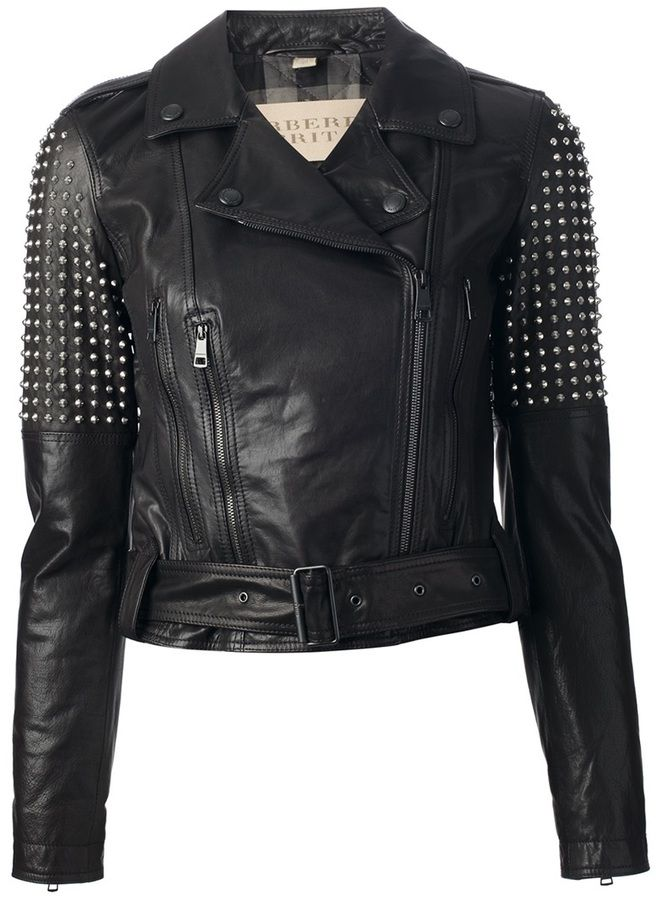 Black Embellished Leather Biker Jacket by Burberry. Buy for $2,278 from farfetch.com