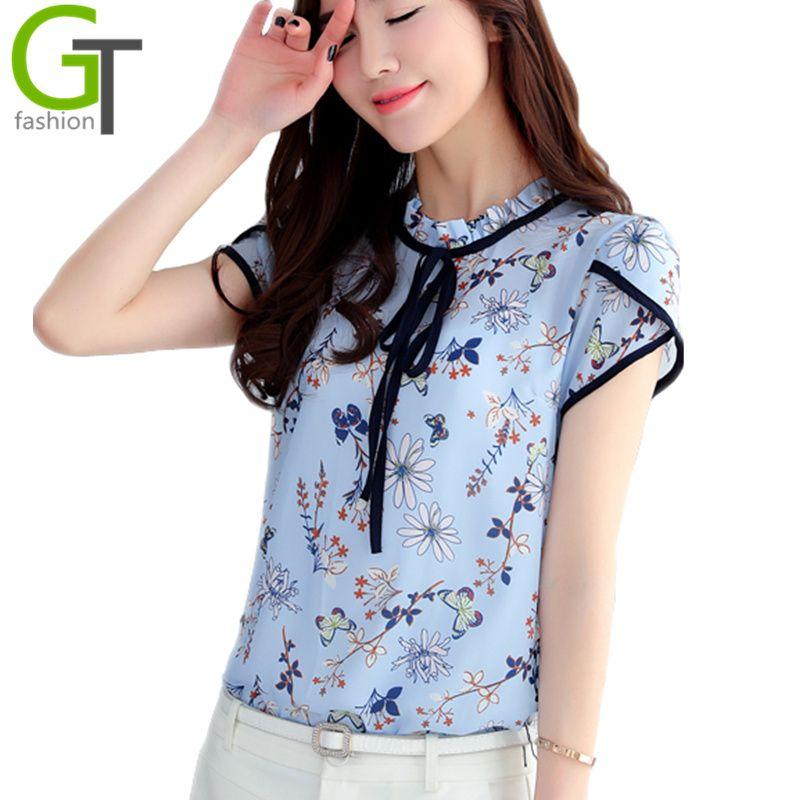 79237f882ee 2017 Summer Style Blouse Women Fashion Chiffon Elegant Shirt Bow Female  Work Wear Office Ladies OL