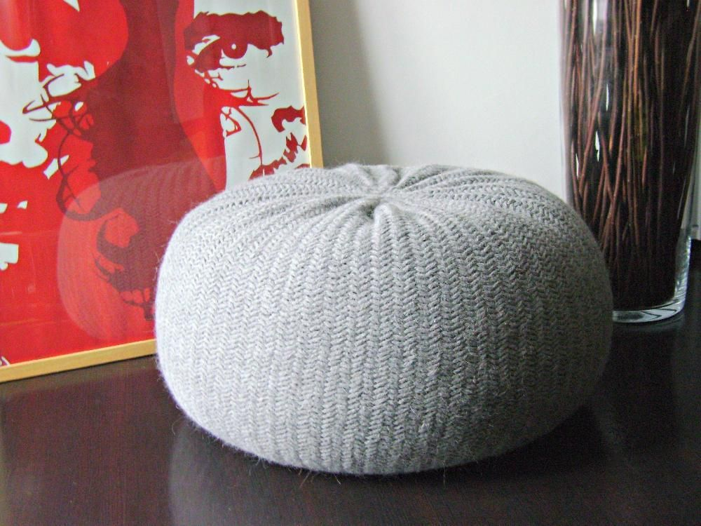 DIY Tutorial XXL Large Knitted Pouf Poof, Ottoman, Footstool, Home ...